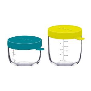 Pack 2 Botes de Conservacion Beaba Portion cristal - Azul/Amarillo Accesorios Babycook