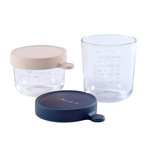 Pack 2 Botes de Conservacion Beaba Portion cristal - Rosa/Azul Accesorios Babycook