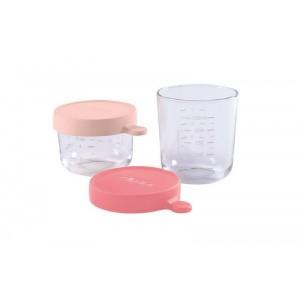 Pack 2 Botes de Conservacion Beaba Portion cristal - Rosa Accesorios Babycook